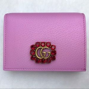 Gucci Pink GG Marmont Red Crystal Card Case Wallet